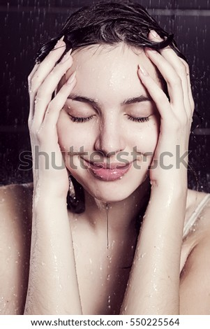 cute girl taking a shower
