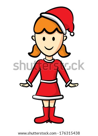 cute girl wearing santa costume - stock photo