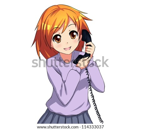 Manga girl stock images royalty free images vectors - Anime girl on phone ...