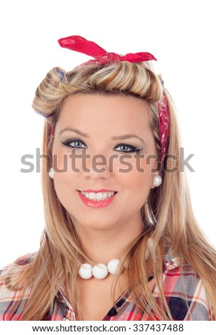 Cute girl with blue eyes in pinup style isolated on a white background - stock photo