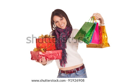 cute girl with christmas gifts on white