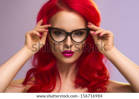 Cute girl with glasses  - stock photo