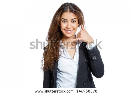 Cute Girl with hand as a phone isolated on white background - stock photo