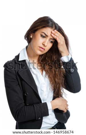 Cute Girl with headache isolated on white background - stock photo