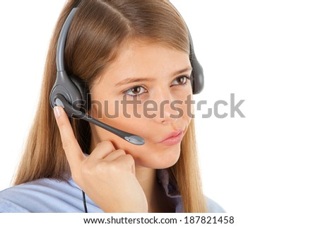 Cute girl with headset, studio shot on white background - stock photo