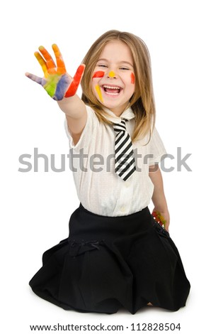 Cute girl with paint on white - stock photo