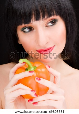 cute girl with pepper