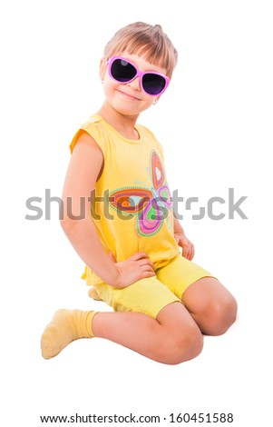 cute girl with pink sunglasses isolated on white background