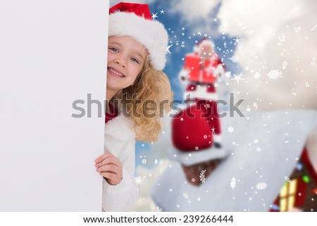 Cute girl with poster against blue sky with white clouds - stock photo