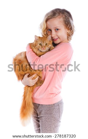 Cute girl with red cat smiling at camera on isolated white background - stock photo