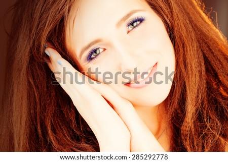 Cute Girl Woman Fashion Model Closeup - stock photo