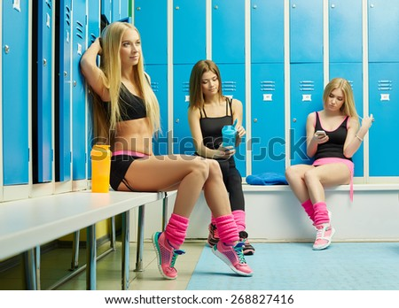 Cute Girls Resting Locker Room After Stock Photo (Royalty Free ...