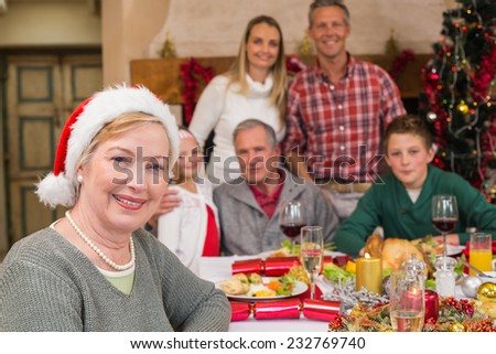 Cute grandmother in santa hat posing in front of her family at home in the living room - stock photo