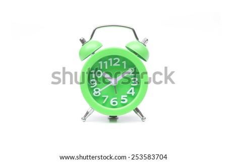 cute green alarm clock - stock photo