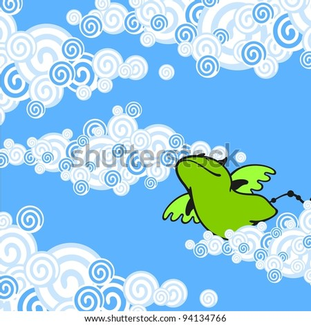 Cute green dragon (raster version) - stock photo