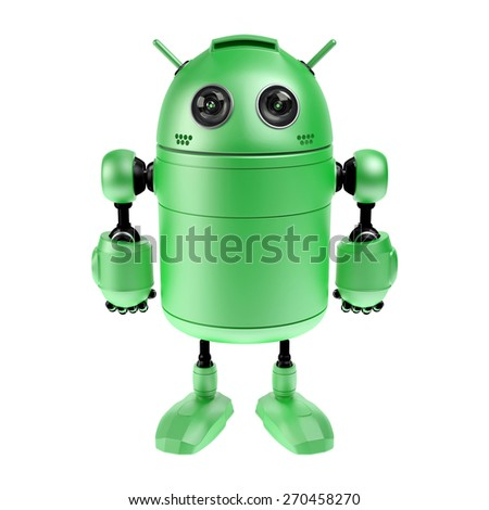 Cute green robot. Isolated on white background - stock photo