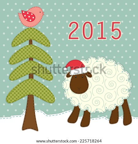 Cute greeting card with retro fabric applique of sheep and fir tree in shabby chic style