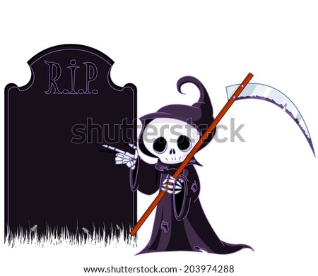 Cute Grim Reaper with scythe is pointing to tombstone. - stock photo