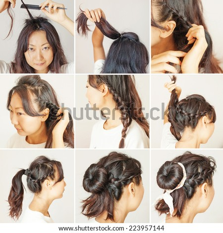 cute hair updo tutorial by beauty blogger - stock photo