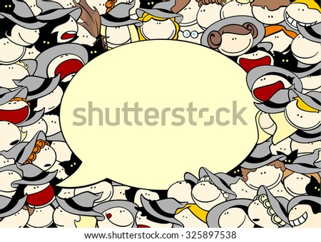Cute Halloween card with a crowd of witches and speech bubble window for your text (raster version) - stock photo