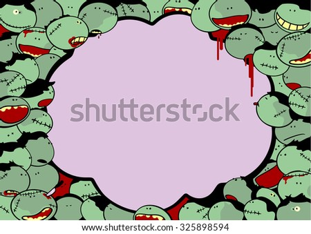 Cute Halloween card with a crowd of zombies and thought bubble window for your text (raster version) - stock photo