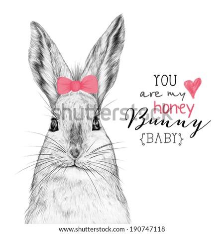 Cute hand drawn bunny. Pencil sketch. Card design. - stock photo