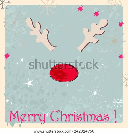 Cute hand drawn style Christmas greeting card with reindeer - stock photo