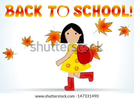 Cute hand drawn style illustration of cute girl going back to school - stock photo