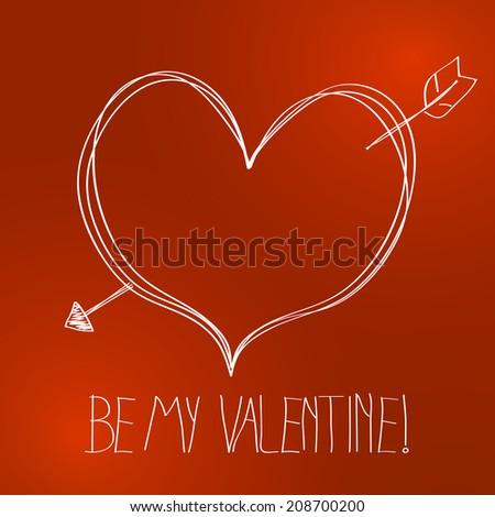 Cute hand drawn valentine background illustration - stock photo