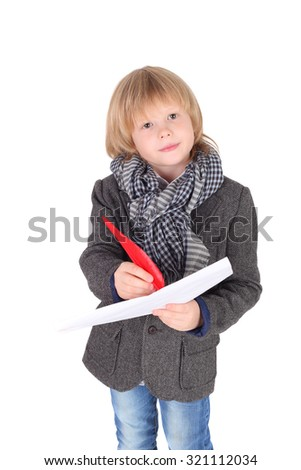 cute handsome little child playing the artist - stock photo