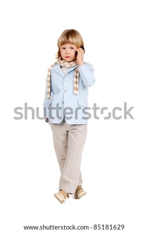 cute handsome young gentleman speaking a mobile phone - stock photo