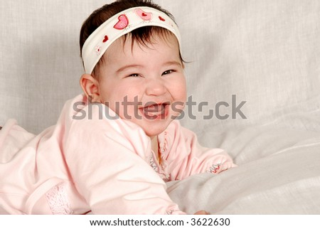 cute happy baby girl - stock photo