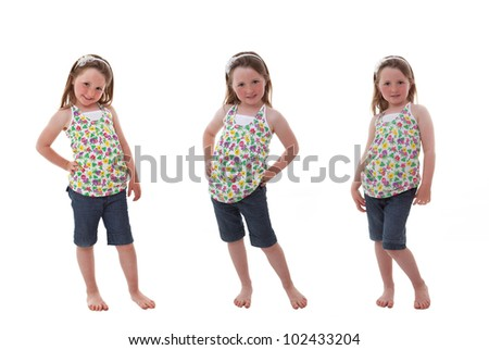 cute happy child in different poses - stock photo