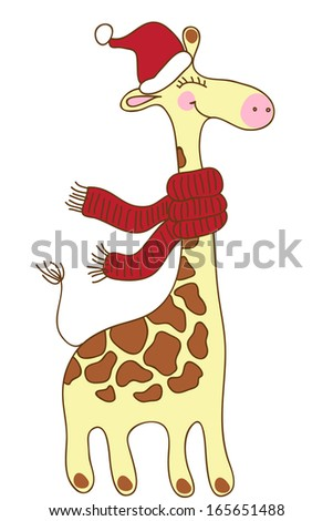 Cute happy Giraffe with a red scarf and a Santa Claus's hat. Christmas greeting card. Raster version