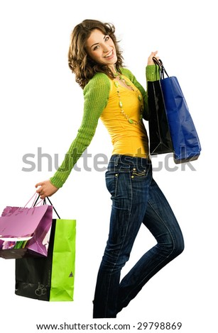 Cute happy girl with shoppingbag isolated on white - stock photo