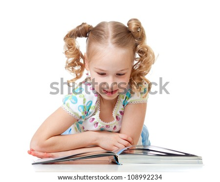 cute happy kid reading a book - stock photo