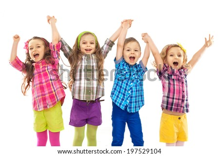 Cute happy kids are jumping together. Isolated white background. Happiness, fashionable and friendship concept - stock photo