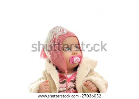 cute happy little baby with winter hat and coat isolated on white - stock photo
