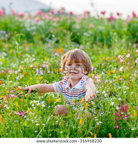 Cute happy little blond child in blooming field with colorful flowers. Smiling boy. Active leisure with kids in summer, on sunny warm day, outdoors.