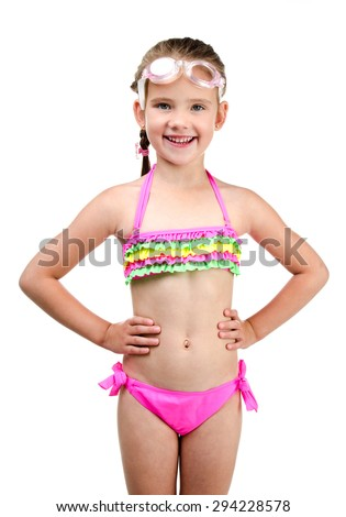 Cute happy little girl in swimsuit and glasses isolated on a white - stock photo