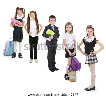 Cute happy  schoolchild, isolated on white