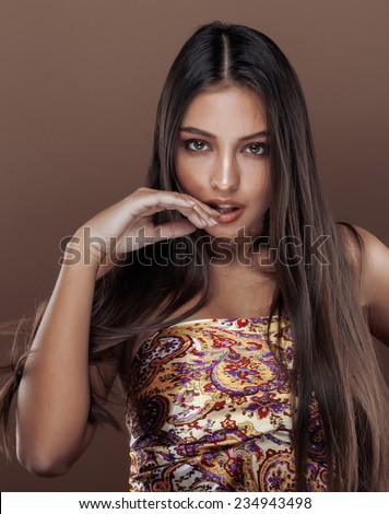 cute happy young indian real woman in studio close up smiling, fashion mulatto - stock photo