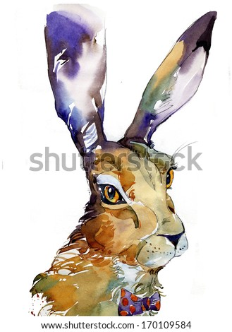 Cute hare illustration - stock photo