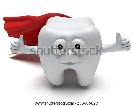 Cute healthy superhero tooth with hands shows thumbs up and red cloak isolated on white background. 3D render. Dental, medicine, health, like concept.
