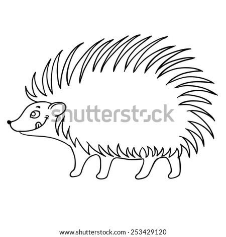 cute hedgehog , illustration on white background - stock photo