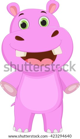 cute hippo cartoon posing