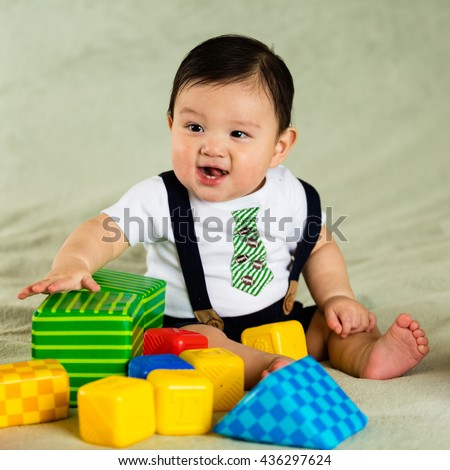 Cute hispanic baby boy portrait.