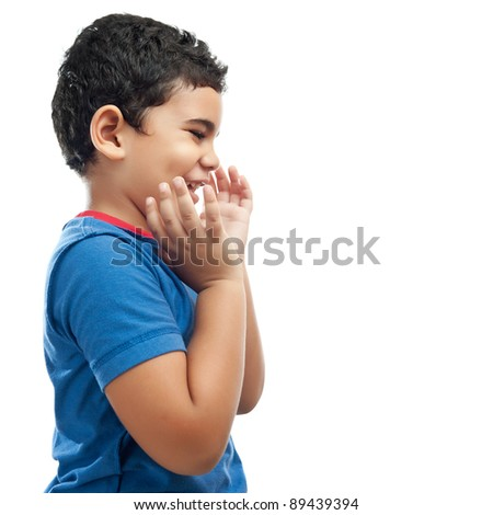 Cute hispanic boy with a surprised expression isolated on a white background - stock photo