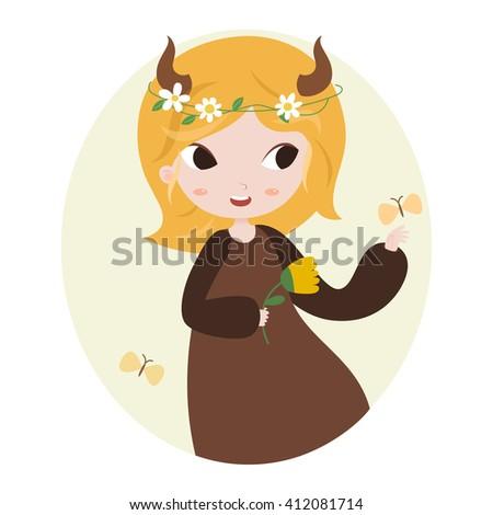 Cute horoscope. Zodiac signs. Taurus. Series of cartoon zodiac characters. Horoscope for kids or teens, template for card, invitation, calendar or etc. Raster. - stock photo
