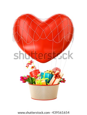 Cute hot air balloon with a basket full of gifts and sweets. Unusual Valentines day 3d illustration.